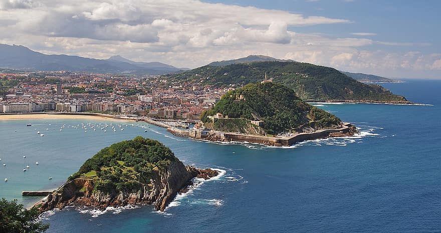 san sabastian concha bay landscape sea coast spain